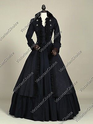 Black Victorian Gothic Steampunk Coat Dress Reenactment Theater Clothing 176