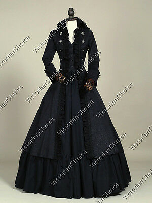 Black Victorian Military Coat Dress Steampunk Witch Women Halloween Costume 176