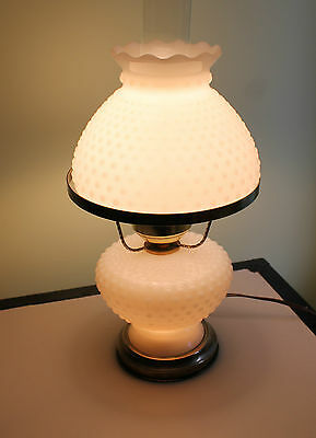 Vtg Milkglass Hobnose Hurricane Gone with The Wind Lamp