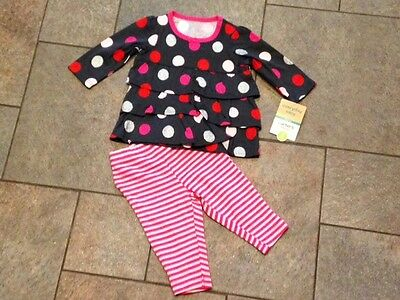NWT Carter's 2 pc Outfit Gray Silver Stripes Pink Polka Dots Top Shirt 0 3 mo