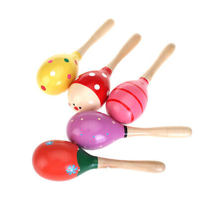 Kid Baby Maraca Rattle Shaker w/ handle Wooden Percussion Musical instrument Toy
