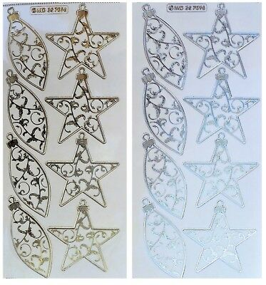 CHRISTMAS BAUBLES Embossed Peel Off Stickers Gold or Silver Clear Sticker