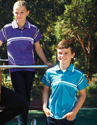 Kids Girls Boys Fully Sublimated Gradated Casual Sports Polo with Knit Collar