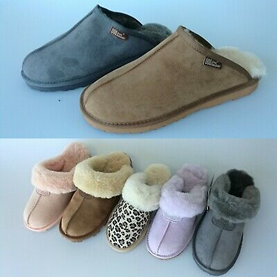 Unisex/Women New 100% Australian Fine Wool Sheepskin Grip Sole UGG Slipper Scuff