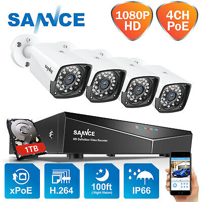 ANNKE 4CH 1080P PoE Network NVR Video Outdoor Home Security IP Camera System 1TB