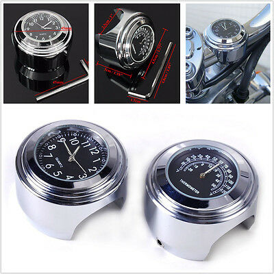 "7/8"" / 1"" Motorcycle Handlebar Mount Watch Dial Clock and Thermometer For Yamaha"