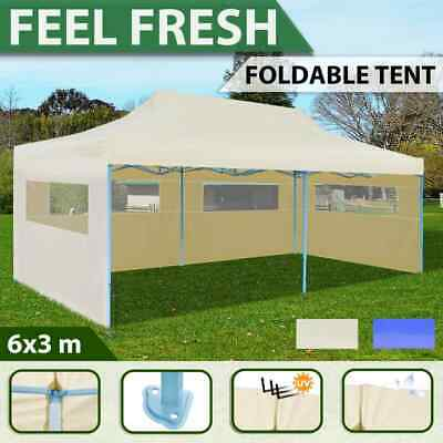 3x6m Cream/Blue Gazebo Folding Wall Party Canopy Pop Up Marquee Shade Wedding