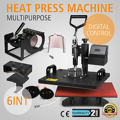 "6in1 Heat Press 12""x15"" Transfer Printing Machine Printer T-Shirt Sublimation"