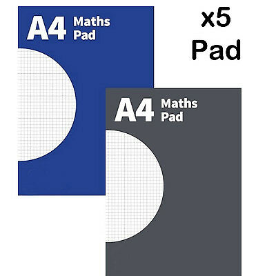 A4 Maths Pad notepad exercise book square graph margin 5 mm grid office school