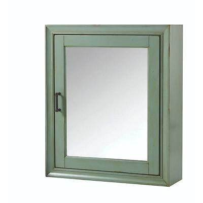 Hazelton Medicine Cabinet Surface-Mount  Antique Green Mirrored Door Organized