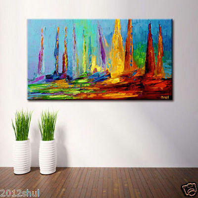 NEW-Modern Large Hand-painted Art Oil Painting Wall Decor Canvas,Boat(No Frame)