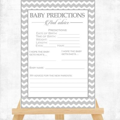 Baby Shower Game - BABY PREDICTION CARDS - 14X10CM BABY UNISEX GREY CHEVRON