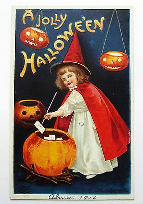 A/S Clapsaddle HALLOWEEN Little GIRL Dressed as WITCH Embossed Postcard IAP