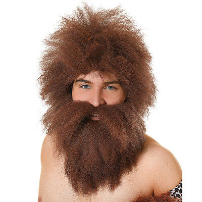 Caveman Wig And Caveman Beard For Fancy Dress Party Adult Accessory