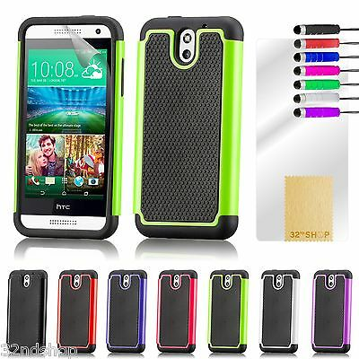 Dual Layer Shock Proof Case Cover For HTC Desire 610 + Screen Protector & Stylus
