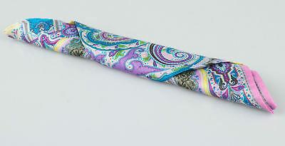 New. ETRO Multi-Color With Paisley Pattern 100% Silk Pocket Square $135