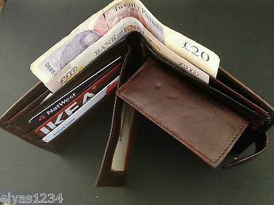 Embossed Real Soft Leather Wallet 6 Credit card slots, inner zip & Coin Pocket