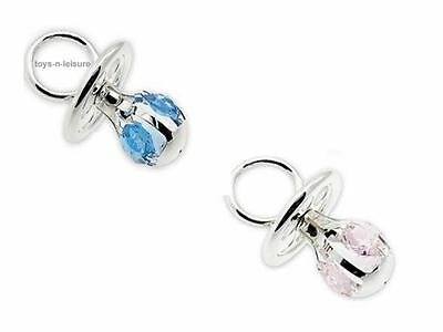 Silver Plated Blue Or Pink Dummy With Crystals Christening Gift For Boy Or Girl