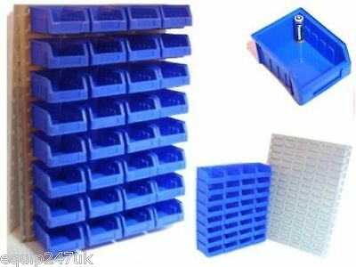 32 Blue Plastic Small Parts Bins Large Quality Steel Wall Mountable Panel