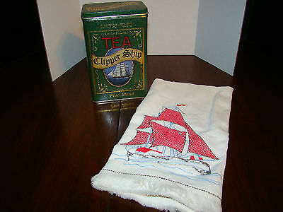 Clipper Ship Tin and Linen Cloth with Embroidered Ship