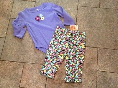 NWT Carter's 2 pc Outfit Longsleeved Top Romper Shirt Pants Purple Flowers