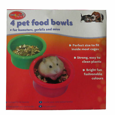 4 Piece Small Pet Food Drink Water Plastic Bowls Hamsters.Gerbils,Mice 8cm x 4.5