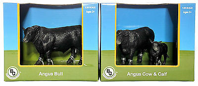 Big Country Toys Farm Animals 1:20 Figures Angus Bull #401 & Angus Cow Calf #404