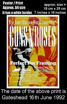 Guns N Roses live concert at Gateshead 16th of June 1992 A4 size poster print