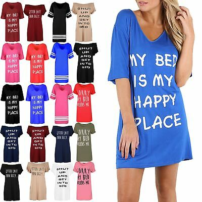 Ladies Womens Plain Oversized My My Bed Is My Happy Place Baggy PJ Shirt Dress