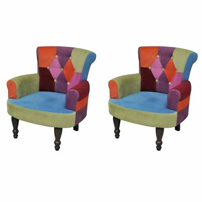1/2 pcs French Provincial Dining Chair Retro Armchair Patchwork Wingback Sofa
