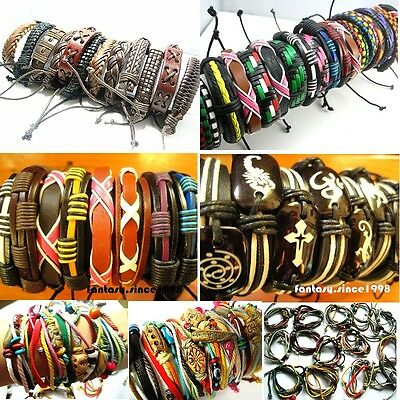 Wholesale Mix Styles 30pcs Hand Made Leather Ethnic Tribes Men's Cuff Bracelets
