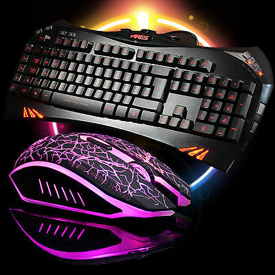 ARES K5 7 LED Backlit Gaming Keyboard and Wired Mouse 4000DPI Bundles Combo