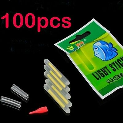 100 Pcs  Chemical Light Fishing Fluorescent Glow Stick Clip On the Rod Tip