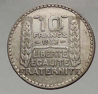 1932 FRANCE - Authentic 0.2172 oz. SILVER 10 Francs Coin - Liberty Wheat i57066