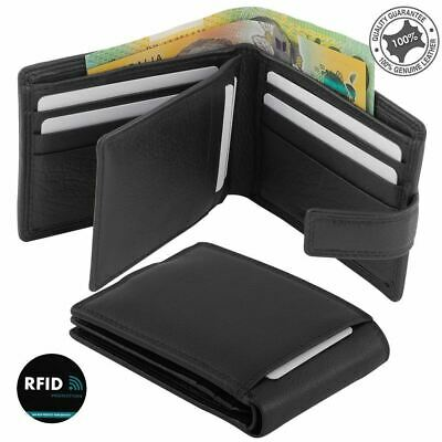 Men's Leather Wallet RFID Blocking Bifold Anti-Theft Security Genuine Leather