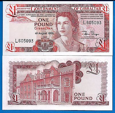 Gibraltar P-20 1 Pound Year 4.8.1988 Queen Elizabeth Uncirculated Banknote