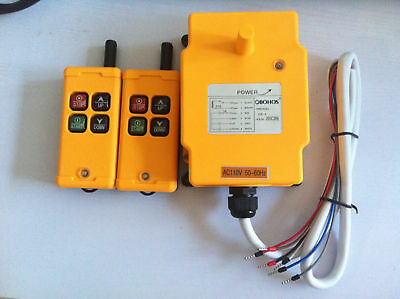 12-415V  2 Tansmitters 4 Channels Industrial Wireless Crane Hoist Remote Control