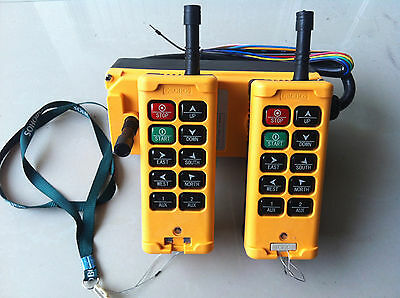 12-415V 2 Tansmitter 10 Channels Industrial Wireless Crane Hoist Remote Control