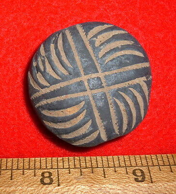 Large, Nicely Etched Unique Ancient Post Neolithic Flat African Pottery Bead