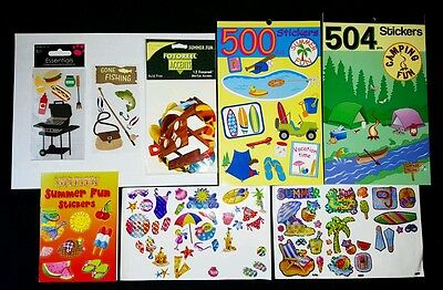 Lot Of Summer Scrapbook Stickers - Vacation Cookout BBQ Beach Camping Fishing