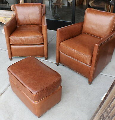"""Set of two 27"""" W Arm chair vintage light brown leather wood frame beautiful"""