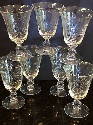 7 Imperial Glass VALLEY LILY Elegant Vintage Cut Crystal Juice Glasses