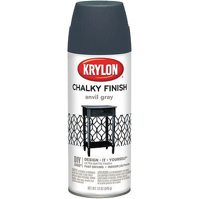 """Chalky Finish Aerosol Spray Paint 12oz-Anvil Gray, Set Of 2"""