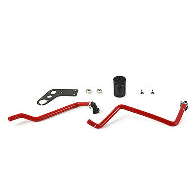 Mishimoto Baffled Oil Catch Can Kit - fits Ford Mustang 5.0 V8 - 2015 on - Red