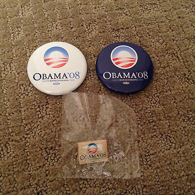 Barack Obama official 2008 Presidential campaign lapel pin blue white button set