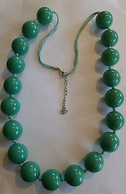 Vintage green large painted wooden bead necklace