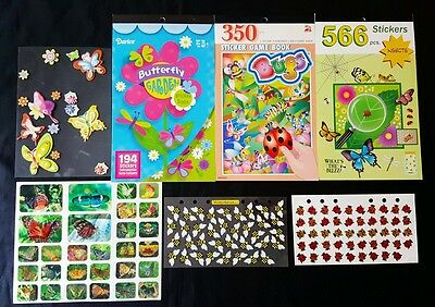Lot Of Insects Scrapbook Stickers - Bugs Butterflies Ladybugs Bees Spiders