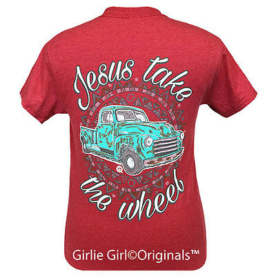 "Girlie Girl Originals ""Jesus Take the Wheel"" Heather Red Short Sleeve Unisex Fit"
