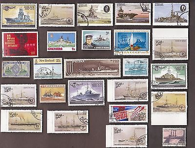25 All Different Battle Ships On Stamps