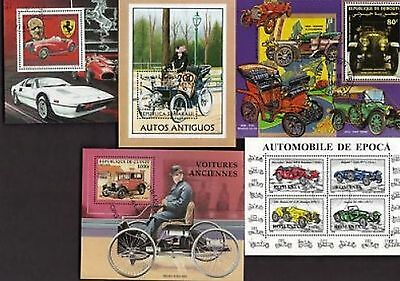 20 All Diff Vintage Autos (Automobiles) Souvenir Sheets